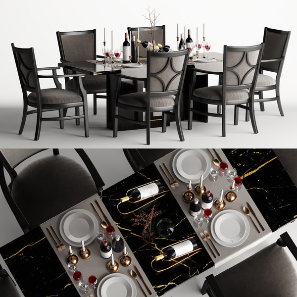 table dining chair set 3D model