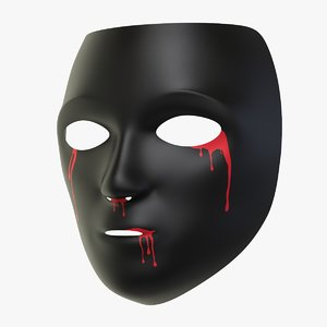 halloween black mask 3D