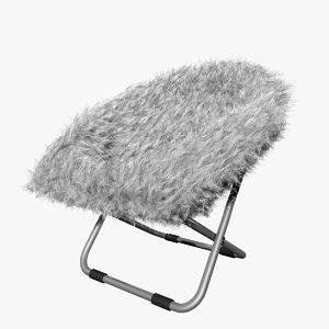 white gray fur rific 3D model