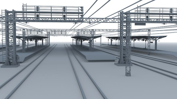 3D railway train station model