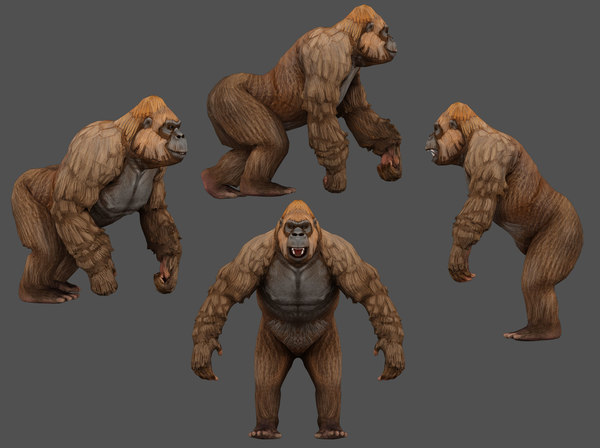 3D model gorilla low-poly