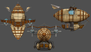 3D airship low-poly model