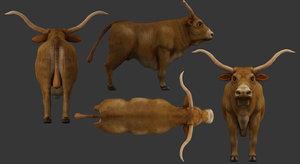 3D bull low-poly