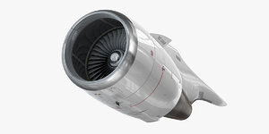 high-bypass turbofan engine 3D model