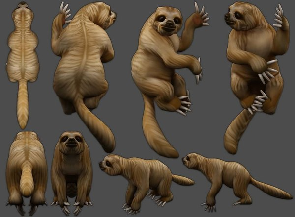 3D sloth low-poly model