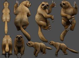 3D sloth low-poly model