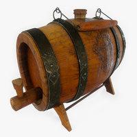 3D vintage desktop wooden barrel