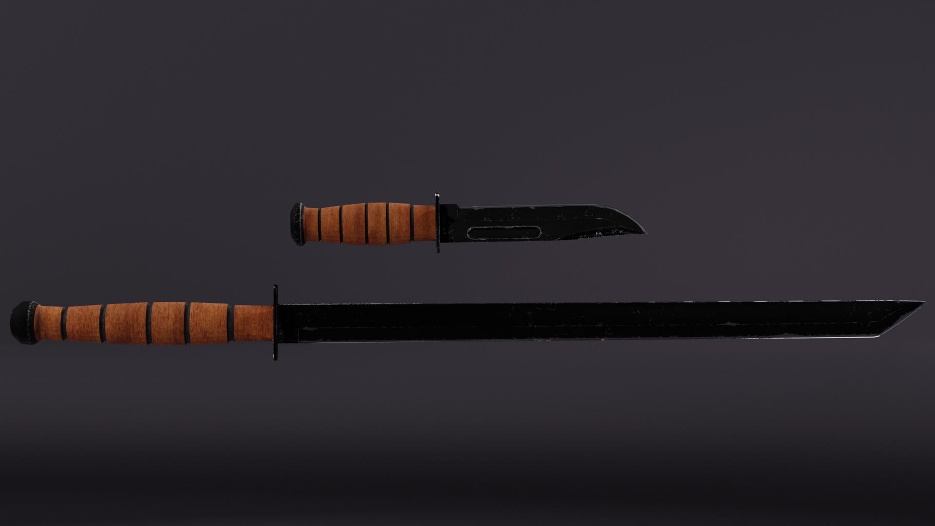 3D sword knife model