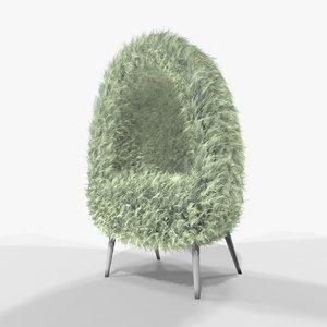 3D model cream faux fur cave