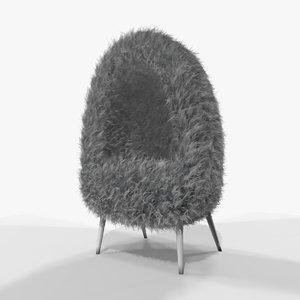 3D grey faux fur cave