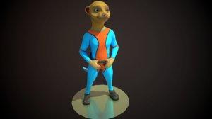 3D space meerkat astronaut clothes model