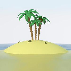 3D model cartoon island ocean palms
