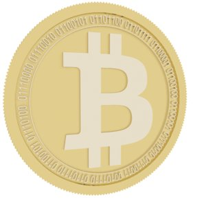 3D model bitcoin gold coin