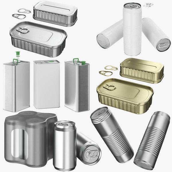 aluminum cans 01 3D model