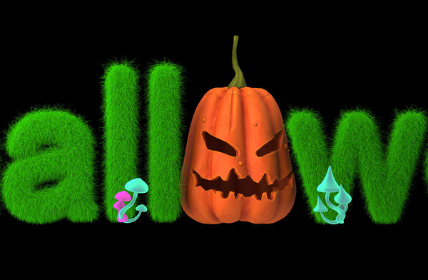 halloween pumpkin text 3D