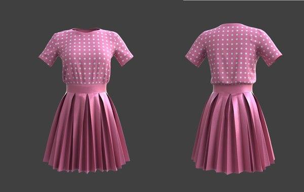 dress skirt pleated 3D model