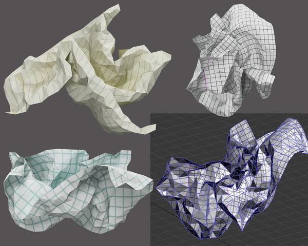 3D crumpled paper ball
