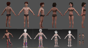 3D model character girl guy low-poly