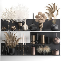 Collection of decor, dried flowers on a shelf