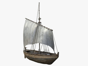 3D medieval sailing boat