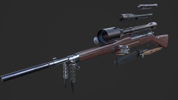 3D world war springfield m1903 model
