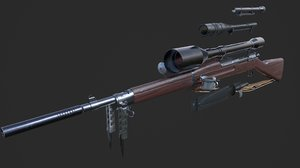3D world war springfield m1903 model