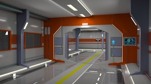 3D space ship hallway model
