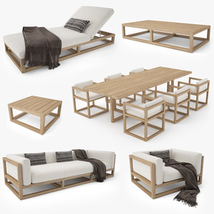 restoration hardware aviara teak 3D