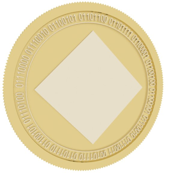 waves gold coin 3D model