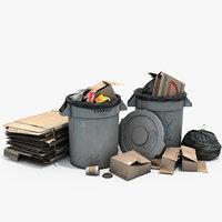 3D stack trash bins model