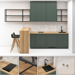 small kitchen studio apartment 3D model