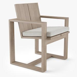 3D restoration hardware porto dining chair model
