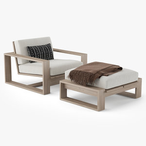 restoration hardware porto armchair 3D model