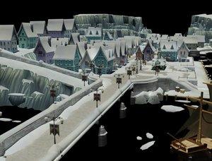 3D model frozen fall town