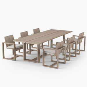restoration hardware porto dining table 3D model