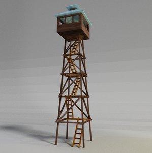 3D wooden watchtower model