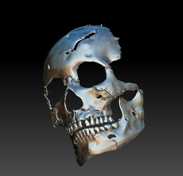 3D model robot skull mask
