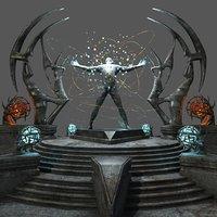 sci fi temple architecture 3D
