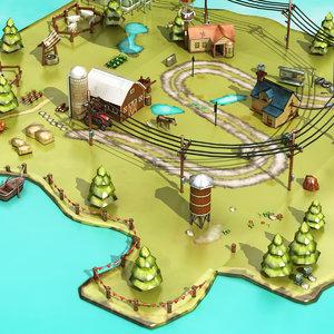3D animation farm house