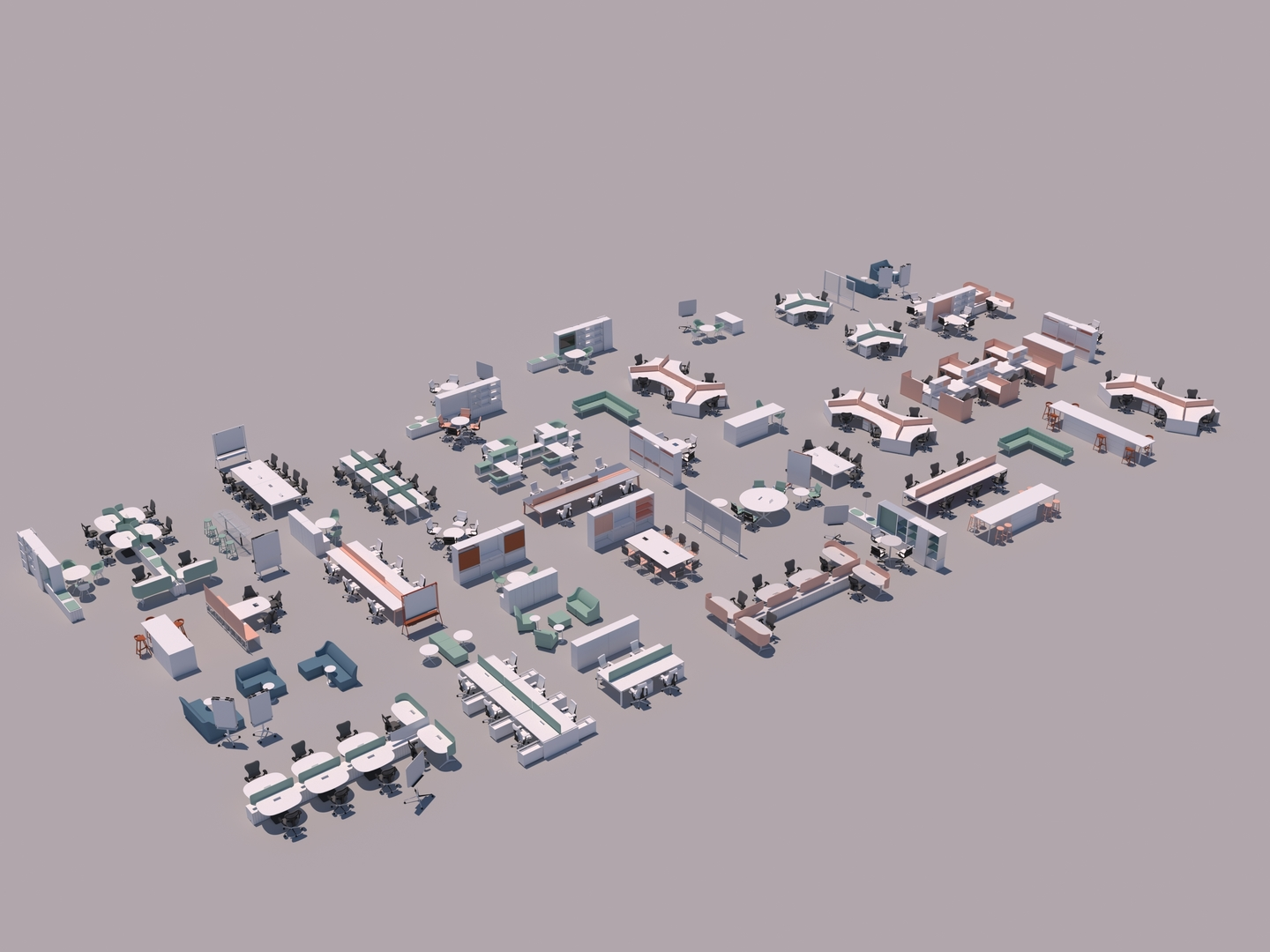 3D flexible office furniture meeting rooms model