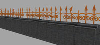wall fence gate architecture 3D