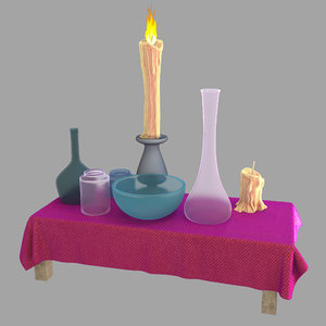 3D flask wizard candle model