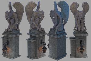 3D gargoyle architecture gothic