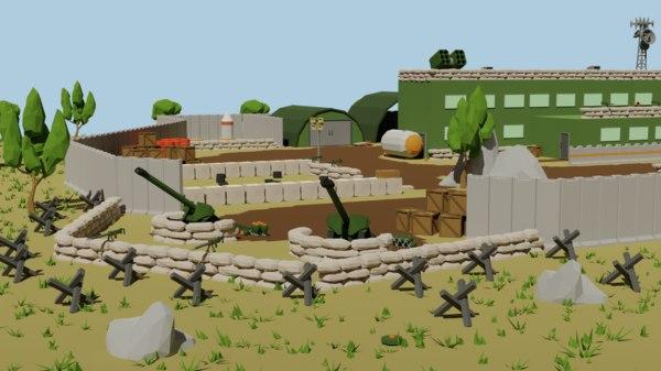3D military base buildings