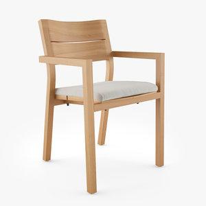 3D tribu kos armchair dining chair model