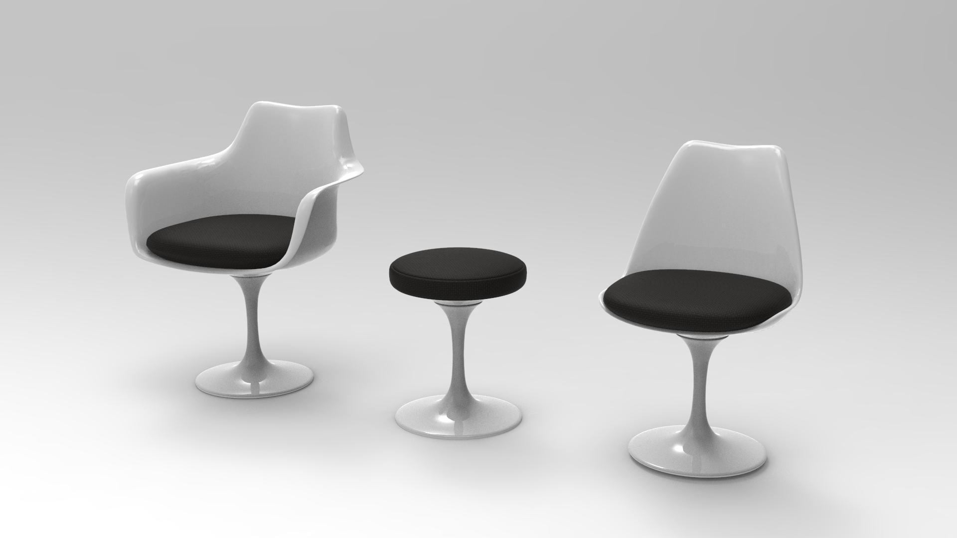 tulip chair eero saarinen 3D