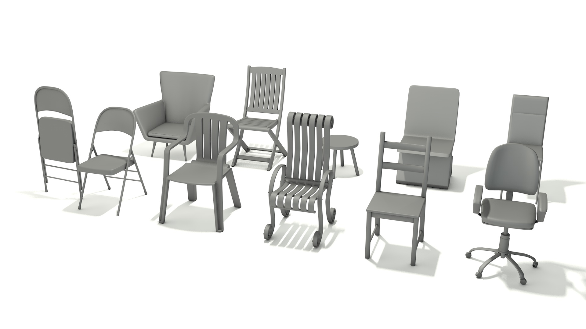 10 different style chair 3D model
