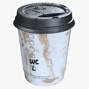 dirty paper coffee cup 3D