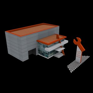 car service center building 3D