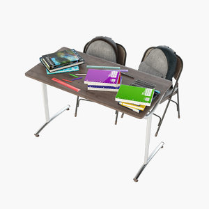 school desk 3D
